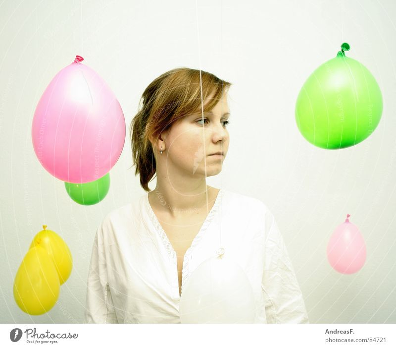 Woman White Joy Colour Eyes Playing Bright Fear Trip Crazy Balloon Grief Curiosity Pure Blow Intoxicant
