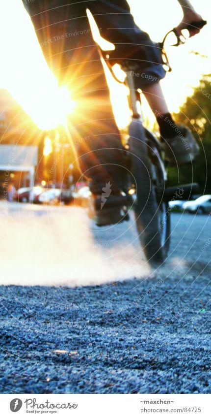 Sun Joy Sports Playing Stone Bicycle Dirty Jeans Driving Wheel Parking lot Dusk Gravel Dust BMX bike Pebble
