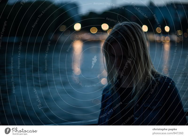 Human being Woman Youth (Young adults) City Loneliness Young woman 18 - 30 years Cold Adults Sadness Emotions Coast Berlin Moody Dream Fear