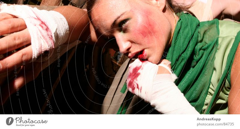 fight Woman Wound Barn Boxing match Massacre Success Shadow Perspiration Anger Aggravation Fear Panic Blood Fight Loudspeaker Lady