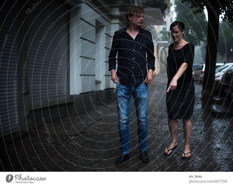 Human being Woman Man Old Cold Adults Wall (building) Sadness Love To talk Feminine Berlin Wall (barrier) Couple Going Masculine