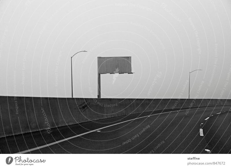 wall of fog Nature Fog San Francisco Road traffic Motoring Street Exceptional Eerie Wall of fog Black & white photo Exterior shot Copy Space top