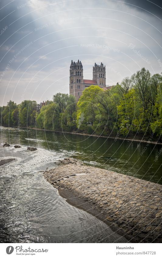 Church on the river Vacation & Travel Tourism Sightseeing Environment Nature Water Sky Spring Beautiful weather Tree Park River Isar Munich Town