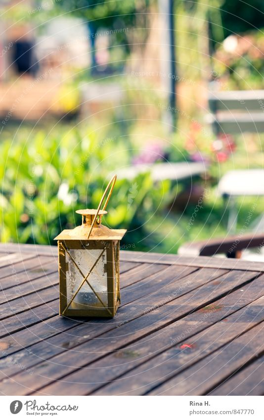 ChamansabaaStill Garden Authentic Idyll Berlin photocase Storm laterne Garden table Colour photo Exterior shot Deserted Shallow depth of field
