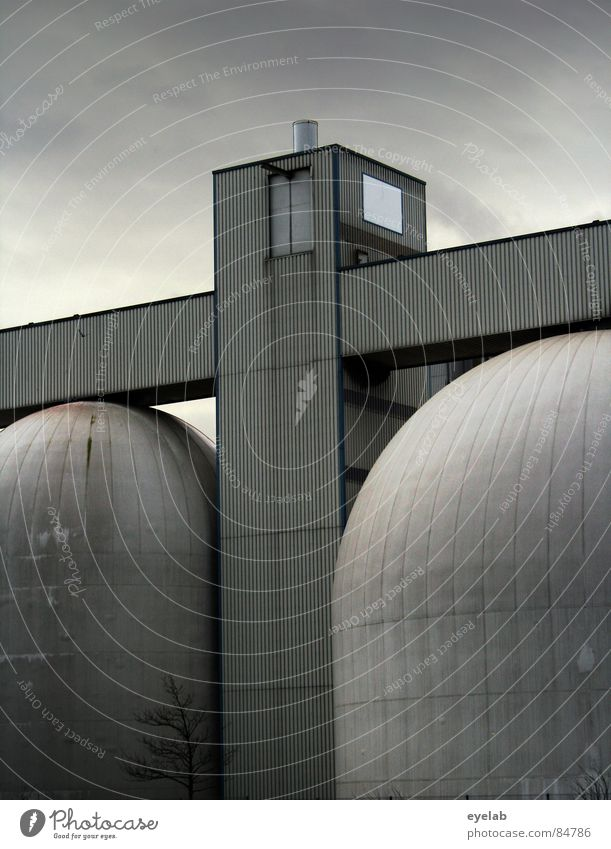 Sky Beautiful Architecture Gray Building Industry Round Industrial Photography Storage Industrial plant Tank Supply Silo Industrial construction
