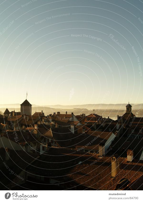 above the heads of the houses Town Switzerland Roof Far-off places Evening Historic Skyline Old town Chimney Helvetia Dusk