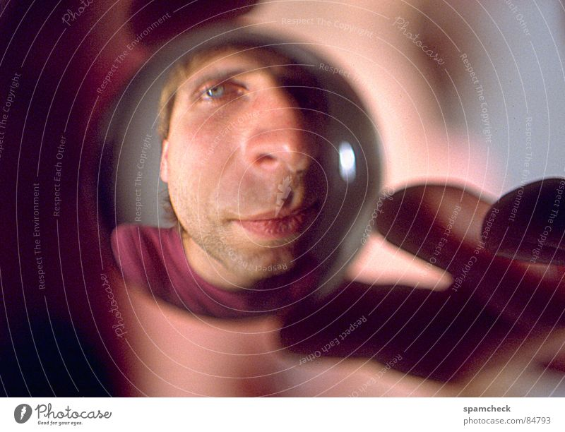 Man Hand Eyes 18 - 30 years Facial expression Identity Character Distorted Young man Glass ball Face of a man Spherical Detail of face Alter ego