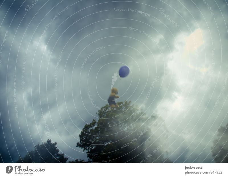 bizarre / teddy trip Freedom Storm clouds Balloon Teddy bear Flying Dream Exceptional Adventure Whimsical Surrealism Double exposure Illusion Fantasy literature