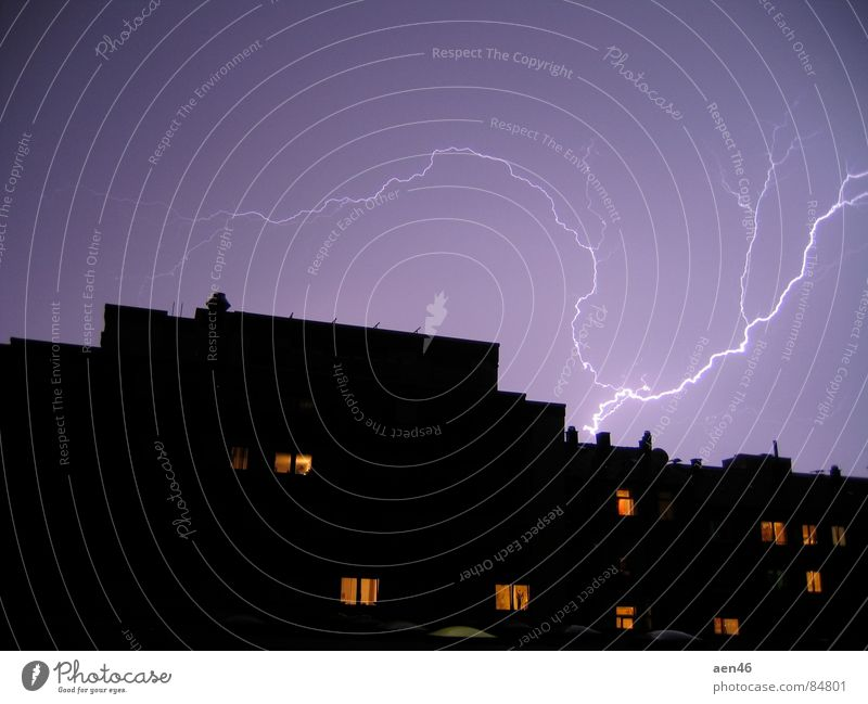 city thunderstorms Town Night House (Residential Structure) Dark Lightning Thunder Storm Thunder and lightning