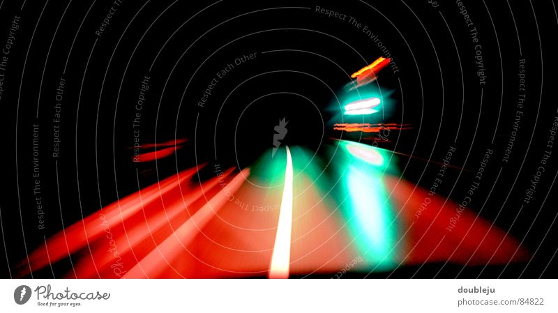 night ride Stripe Night Dark Black Red Green Driving Speed Traffic infrastructure Street Car