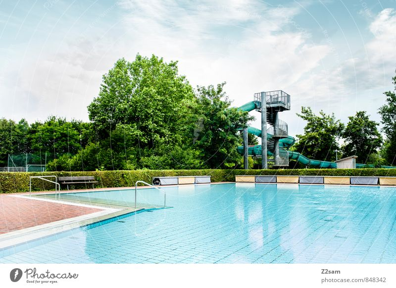 seasonal venda Cycling Water Sky Clouds Summer Tree Bushes Architecture Swimming pool Open-air swimming pool Water slide Simple Natural Clean Blue Green