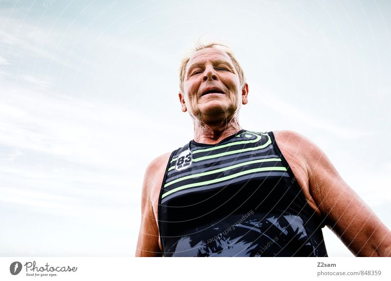 finisher Sports Fitness Sports Training Sportsperson Sporting event Success Triathlon Running sports Masculine Male senior Man 60 years and older Senior citizen