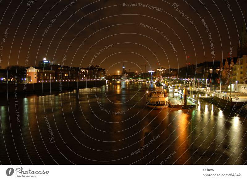 Weser Bremen Night Light Watercraft Promenade Jetty Harbour Long exposure