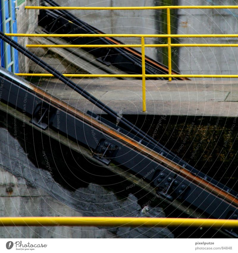 Colour Yellow Above Lighting Line Watercraft Work and employment Back Stairs Industry Logistics Connection Diagonal Steel Staircase (Hallway) Direction