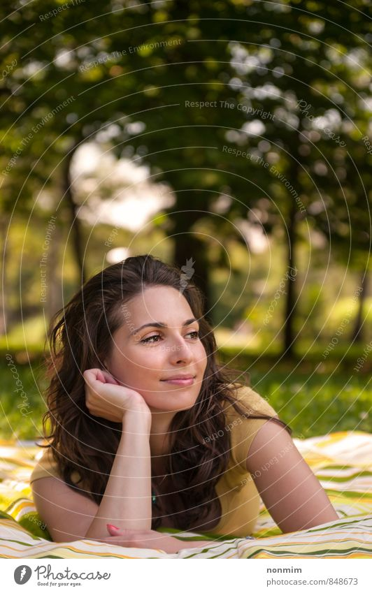 Portrait of a beautiful young woman lying on the grass at park Woman Nature Youth (Young adults) Beautiful Summer Relaxation Joy 18 - 30 years Yellow Adults Meadow Feminine Grass Natural Lie Park