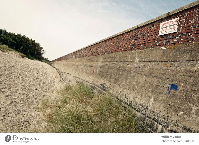 Wall near Prora on Rügen, Baltic Sea Vacation & Travel Tourism Trip Adventure Sightseeing Summer Summer vacation Beach Ocean Hiking Sky Tourist Attraction Stone