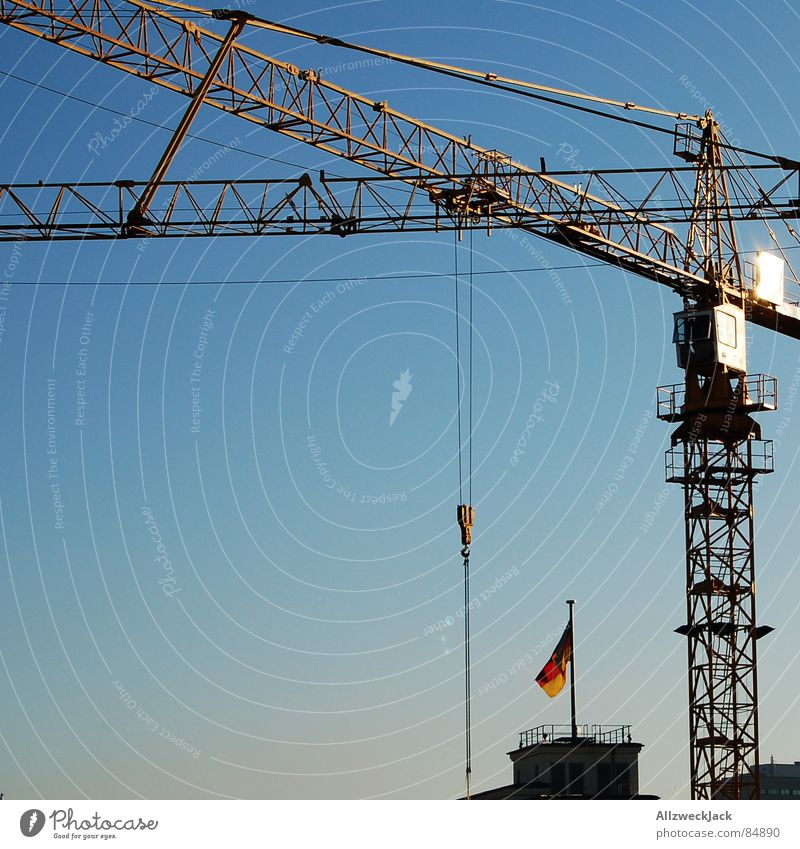 Sky Red Black Metal Germany Gold Industry Flag Construction site Craft (trade) Crane Progress Working man Rebuild Canopy (sky) Firmament