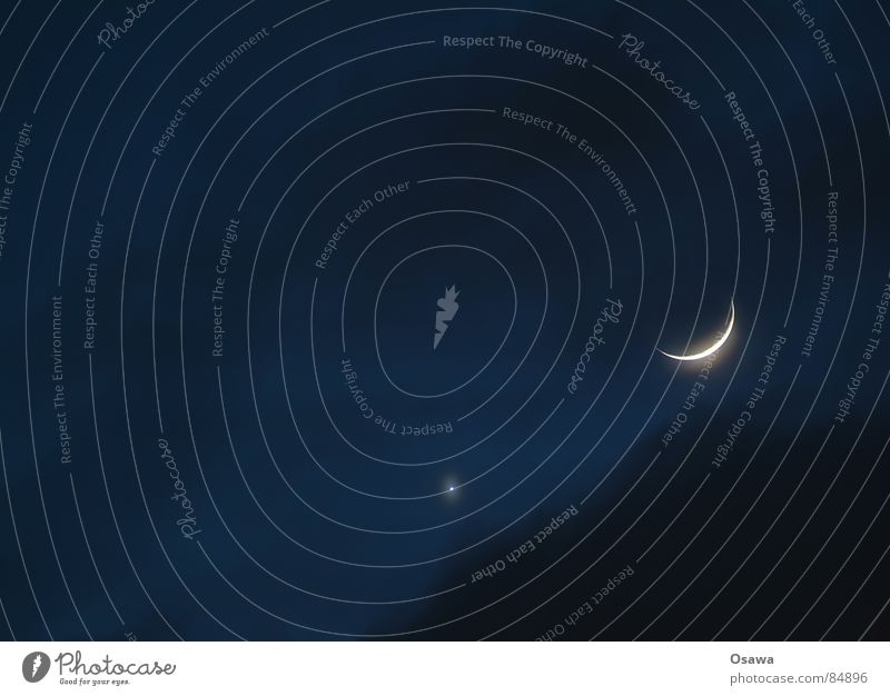 Sky Clouds Calm Sleep Peace Moon Planet Celestial bodies and the universe Firmament Canopy (sky) Trabbi Venus Night Slumber Half moon Crescent moon