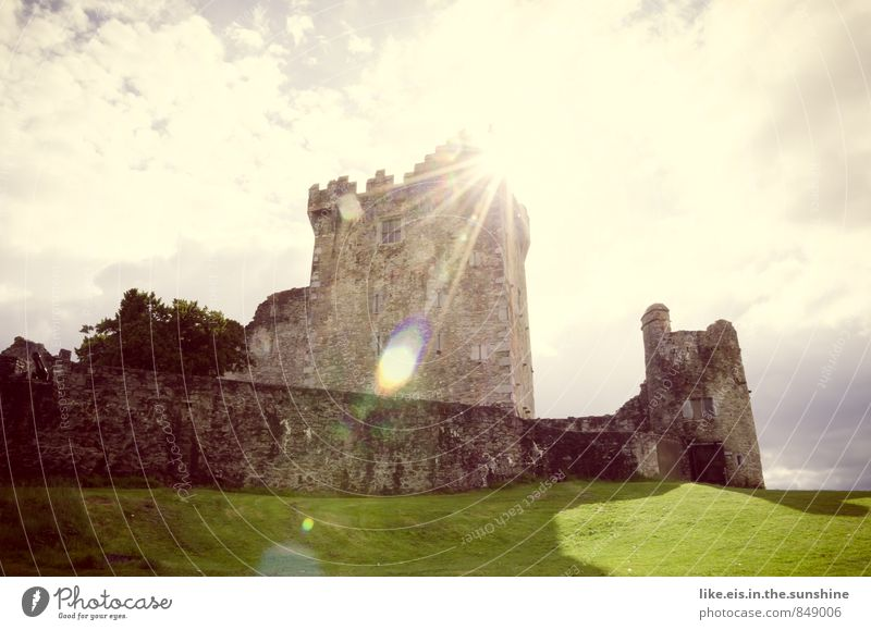 Nature Vacation & Travel Loneliness Calm Clouds Environment Meadow Grass Building Tourism Trip Fantastic Tower Castle Manmade structures Discover