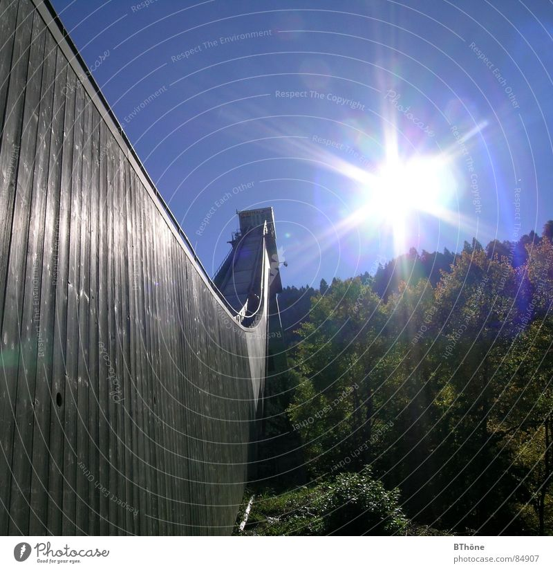sun hill Garmisch-Partenkirchen Ski jump Light and shadow Jump Forest Hope Sunlight Celestial bodies and the universe Joy four hills tournament olympic ski ramp
