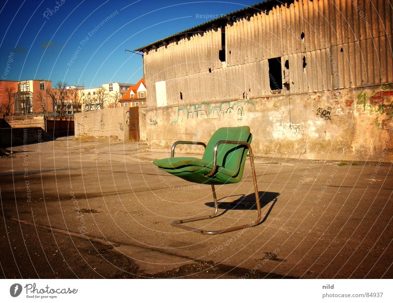 abandoned designer Bum around Putrefy Designer Cantilever chair Furniture Green Freight station No admittance Harmful Loneliness Cozy Decompose Derelict
