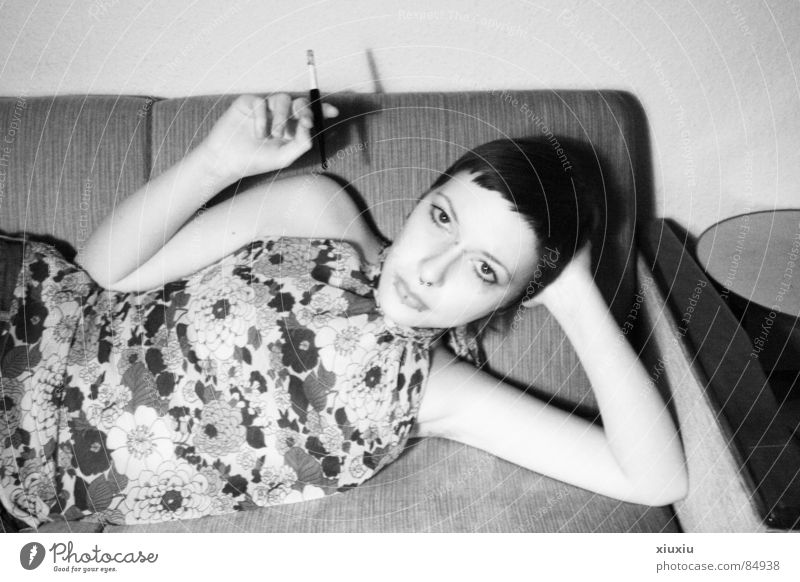 Woman Human being Flower Retro Smoking Cigarette Pallid Black & white photo Haircut Short haircut Fuse Cigarette holder