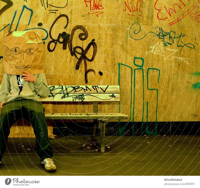 Human being Old Dirty Wait Gloomy Bench Intellect Tunnel Boredom Paper bag Character Underpass Ogre Beast Grubby Tough guy