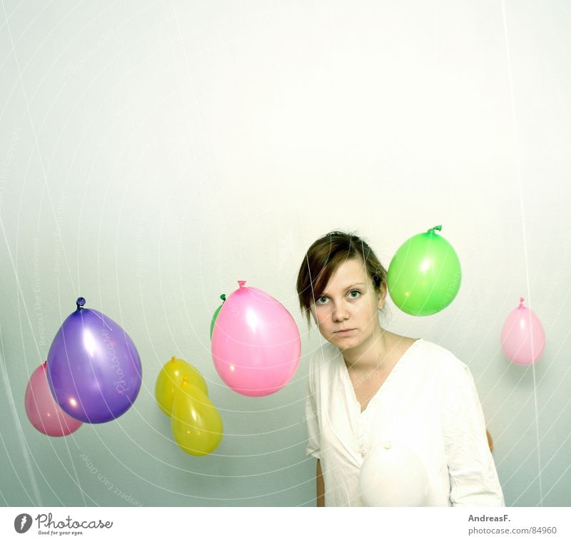 between balloons Balloon Multicoloured White Woman Portrait photograph Marvel Amazed Earnest Colour Looking High-key Bright Bright background Copy Space top