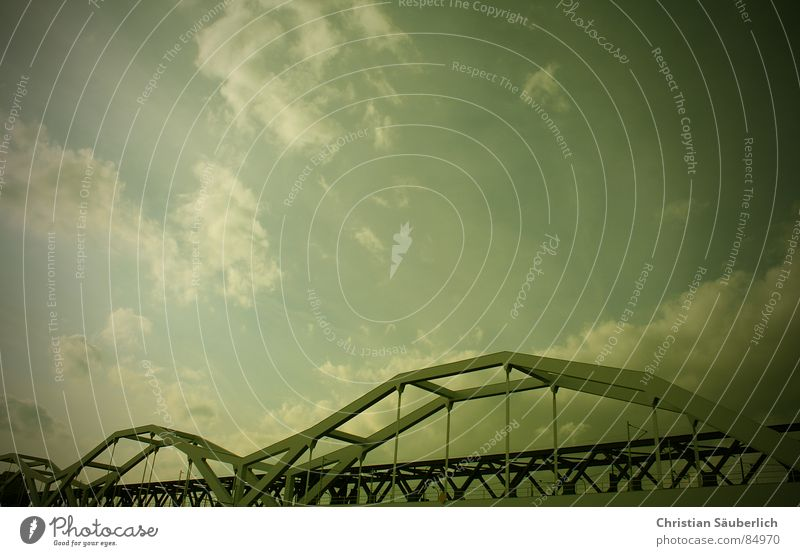 Sky Clouds Bridge Intersection Mannheim Steel carrier Ludwigshafen Railroad crossing Konrad-Adenauer bridge
