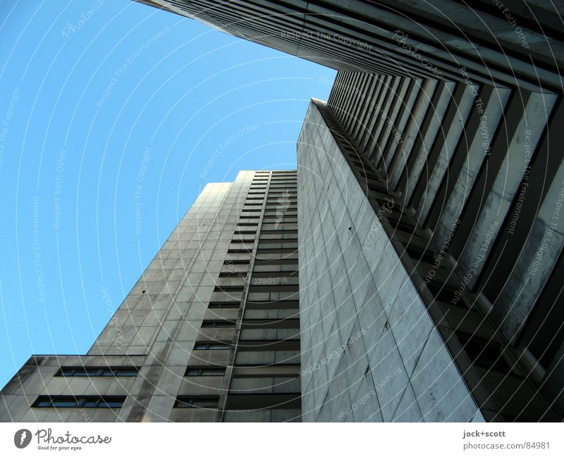 IDEAL 2 Cloudless sky Gropiusstadt Tower block Facade Concrete Exceptional Tall chill Modern Gloomy Gray Bauhaus Ambitious Vertical Block Anonymous Flare