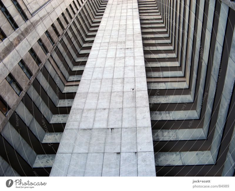 IDEAL 6 Style Architecture Gropiusstadt Tower block Facade Tall chill Modern Gloomy Gray Bauhaus U-shaped Story Ambitious Vertical Block Anonymous Sixties