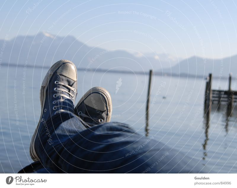 On a sunday in april. Lake Vacation & Travel Leisure and hobbies Footwear Goof off Footbridge Break Calm Relaxation Contentment Frictionless Lake Chiemsee