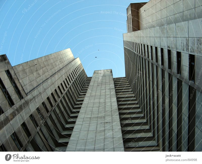 Loneliness Cold Architecture Style Gray Exceptional Above Facade Living or residing Gloomy Modern Perspective Tall Concrete Longing Cloudless sky