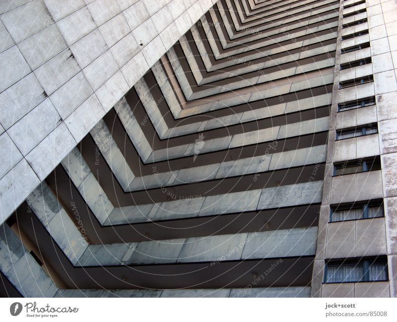 IDEAL 7 Style Architecture Gropiusstadt Tower block Facade Exceptional Tall chill Modern Above Gloomy Gray Bauhaus U-shaped Story Ambitious Vertical Anonymous