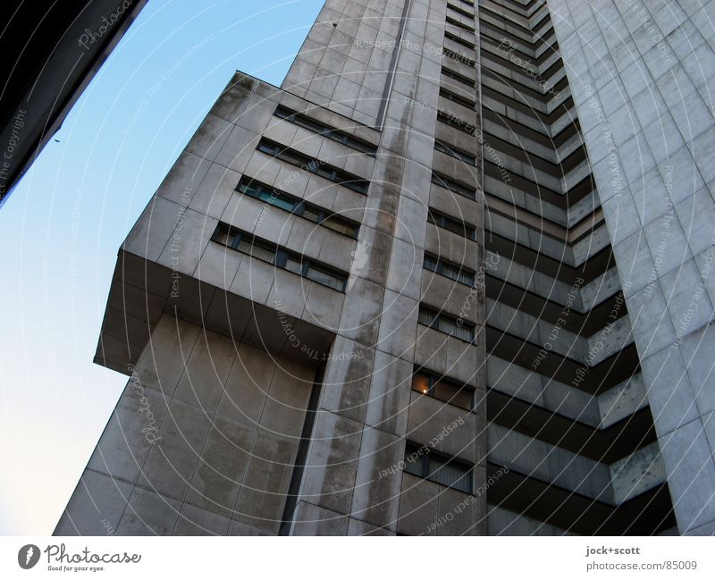 IDEAL 4 Architecture Cloudless sky Gropiusstadt Facade Monument Exceptional Tall chill Modern Above Gloomy Gray Style Bauhaus Story Ambitious Vertical