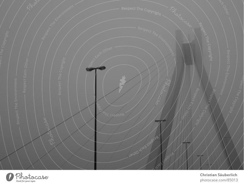 Gray Fog Bridge Lantern Street lighting Nerviness Bad weather Pylon Ludwigshafen