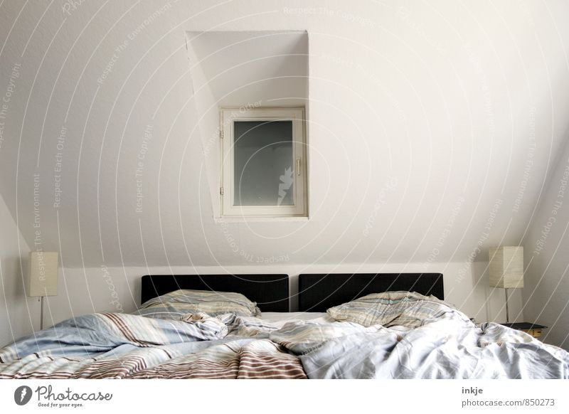 *snrch* Lifestyle Style Living or residing Flat (apartment) Interior design Bed Room Bedroom Double bed Deserted Window Bedside table Lamp Bedclothes Modern