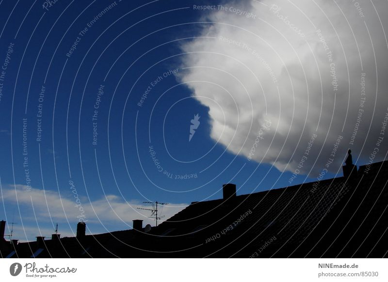 threatening cotton ball I Roof Clouds Black Antenna Sky blue Threat Storm Absorbent cotton Soft White Gray Exterior shot Karlsruhe Spontaneous Force of nature