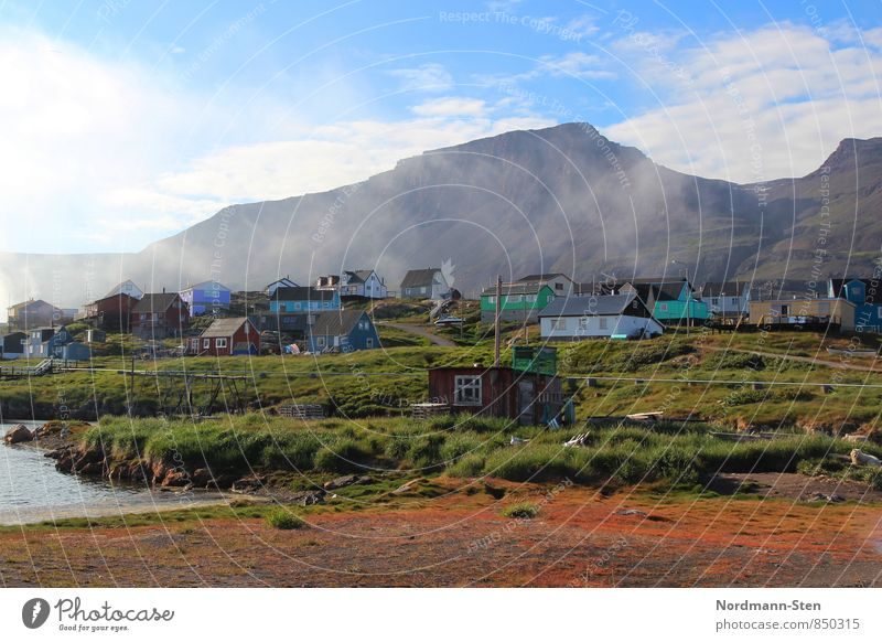 Qeqertarsuaq Nature Air Fog Mountain Greenland Fishing village House (Residential Structure) Tourism Colour photo Exterior shot Light