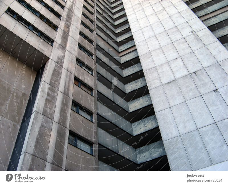 IDEAL 8 Style Architecture Gropiusstadt Tower block Facade Concrete Stripe Tall Cold Modern Above Gloomy Gray Bauhaus Story Ambitious Sixties Subdued colour