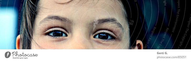 Wait a minute Portrait photograph Forehead Child Human being Looking Joy Peace forehead section partial portrait eye area Eyes Face Schoolchild Perspective