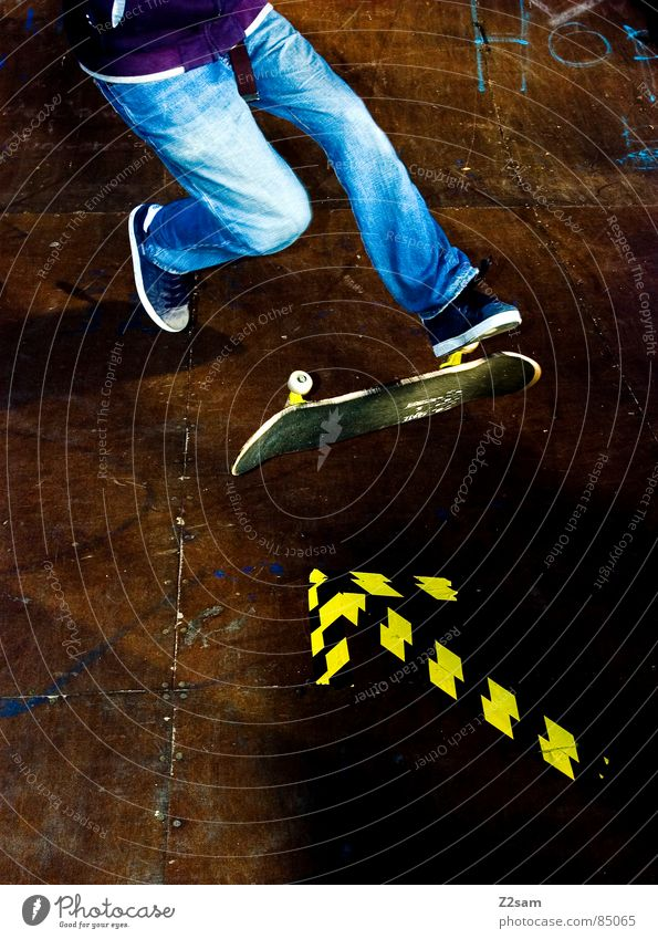 Yellow Colour Sports Boy (child) Jump Style Movement Wood Action Jeans Floor covering Arrow Skateboarding Direction Dynamics Athletic
