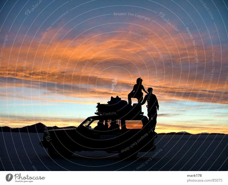 shadow plays Vacation & Travel Far-off places Freedom Sun Mountain Sky Horizon Desert Car Moody Romance Beautiful Salt flats Sunset Bolivia Salar de Uyuni