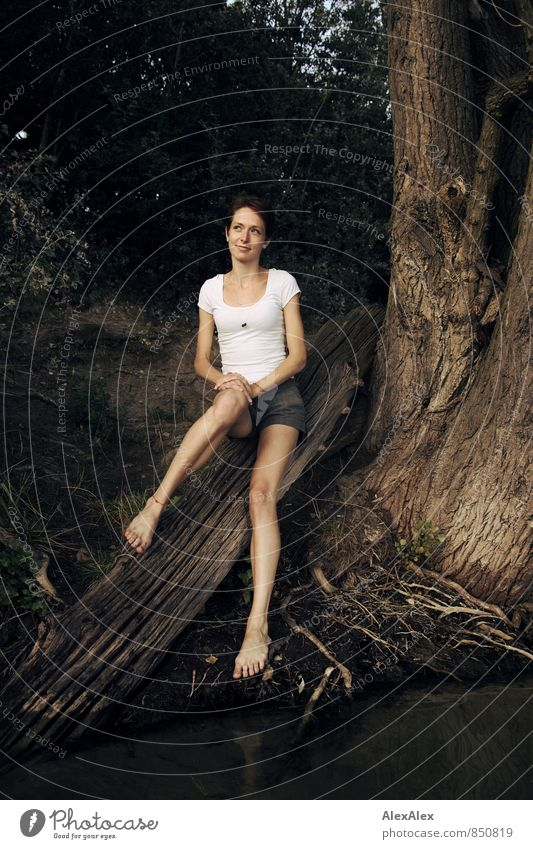 young, slim, long-legged woman sits on a tree trunk on the shore of a lake Trip Young woman Youth (Young adults) Legs Feet Barefoot 18 - 30 years Adults Water