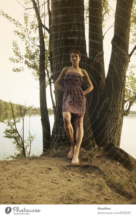 Big Trip Adventure Young woman Youth (Young adults) Body Legs Barefoot 18 - 30 years Adults Nature Summer Tree Lakeside Summer dress Brunette Short-haired Stand