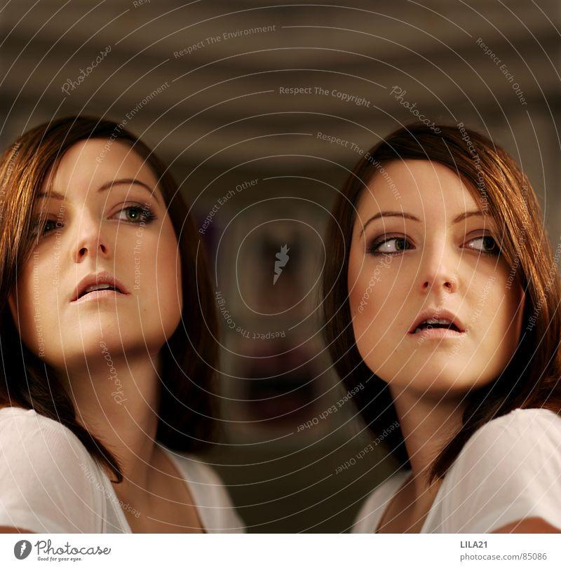 twins Twin Woman Cloning Birth Portrait photograph Interior shot Equal Posture