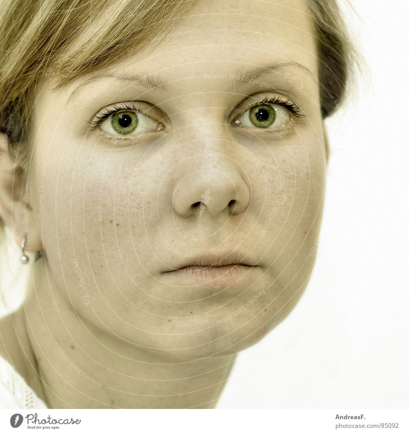 Woman Green Face Eyes Feminine Sadness Skin Mouth Nose Search 18 - 30 years Young woman Direct Pallid Earnest Section of image