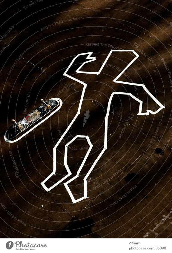 Human being Death Wood Style Moody Lighting Arm Lie Floor covering Skateboarding Wooden board Striped Easygoing Coil Stick Murder