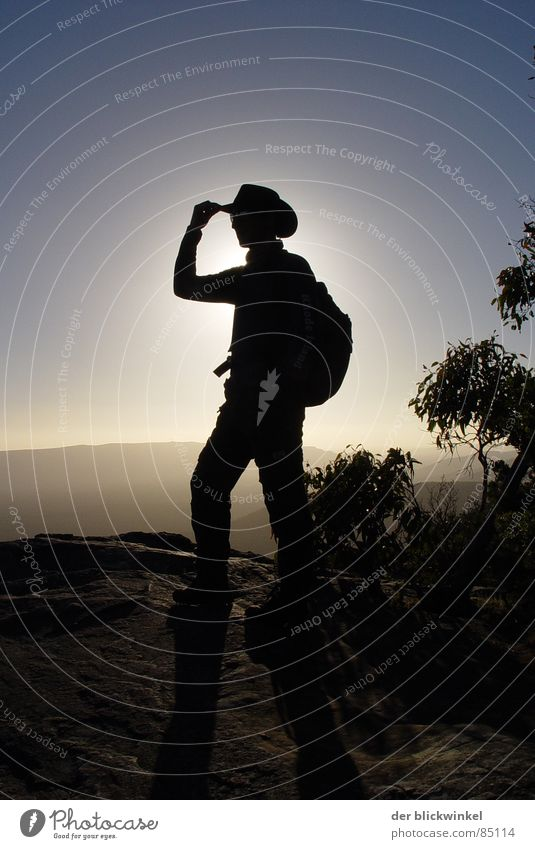 come to where the country is Cowboy Back-light Portrait photograph Silhouette Detail Human being Sun Landscape