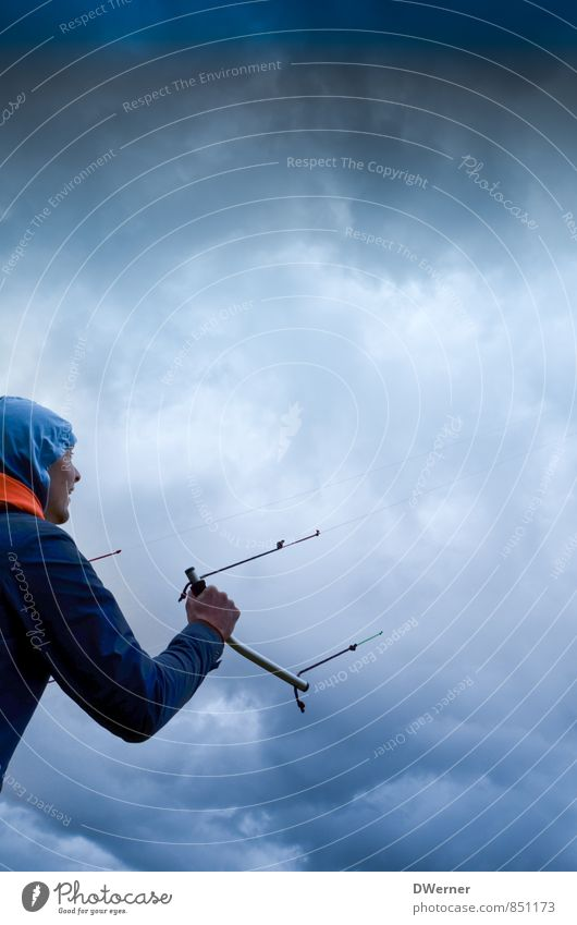 kites Adventure Sports steering mat Human being Masculine Young man Youth (Young adults) 1 18 - 30 years Adults Environment Nature Sky Sky only Clouds